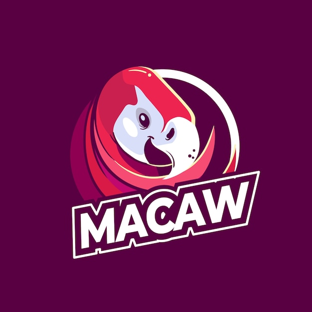 Macaw mascot logo template Premium Vector