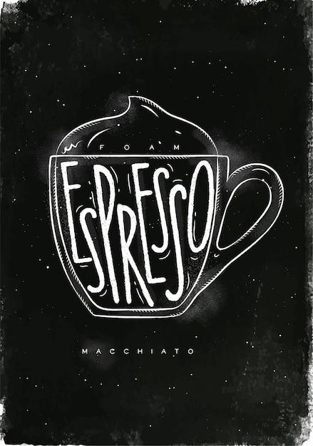 Пена с надписью macciato чашка, эспрессо в винтажном графическом стиле, рисунок мелом на фоне классной доски Premium векторы