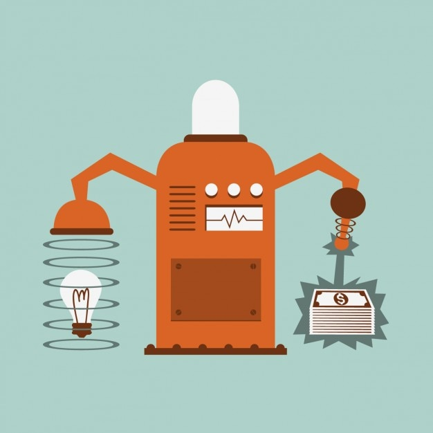 Machine converting ideas in money Free Vector