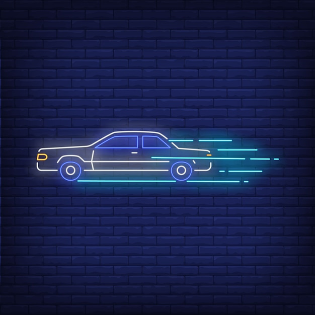 Machine increasing speed neon sign Free Vector
