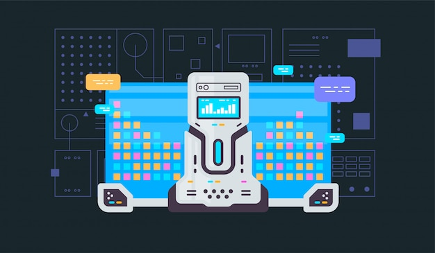 Machine learning, algorithm, artificial intelligence flat line vector banner with icons isolated on blue Premium Vector