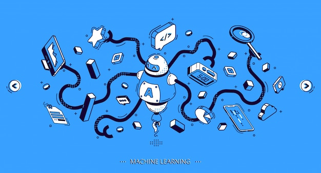 Machine learning banner, artificial intelligence Free Vector
