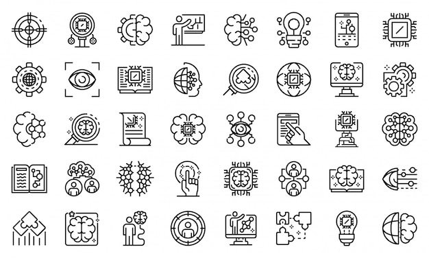 Machine learning icons set, outline style Premium Vector