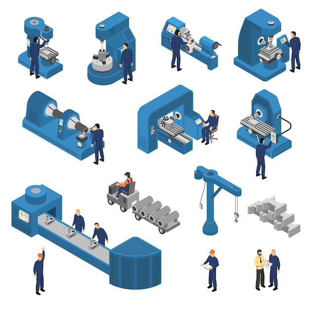 Machine tools with workers isometric set Free Vector