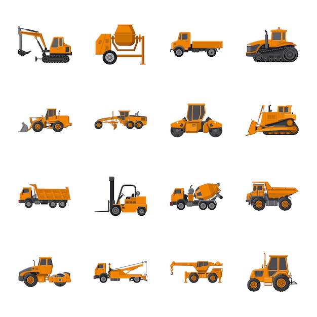 Machinery cartoon icon set, construction machinery. Premium Vector