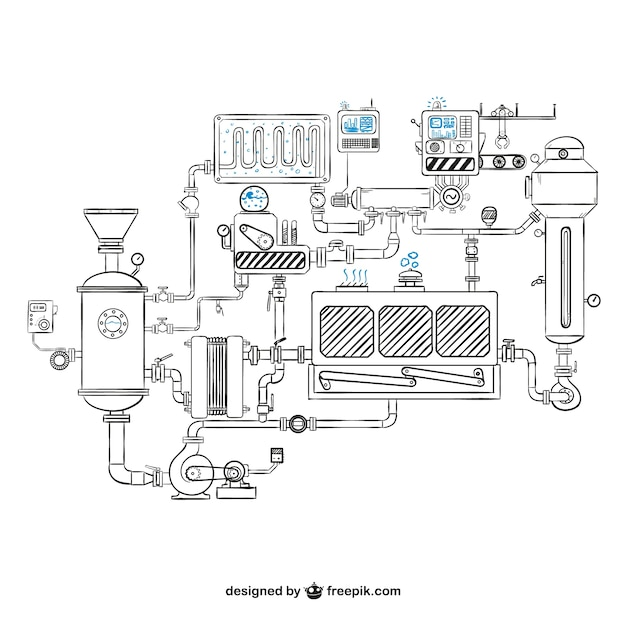 Machinery drawing vector Free Vector