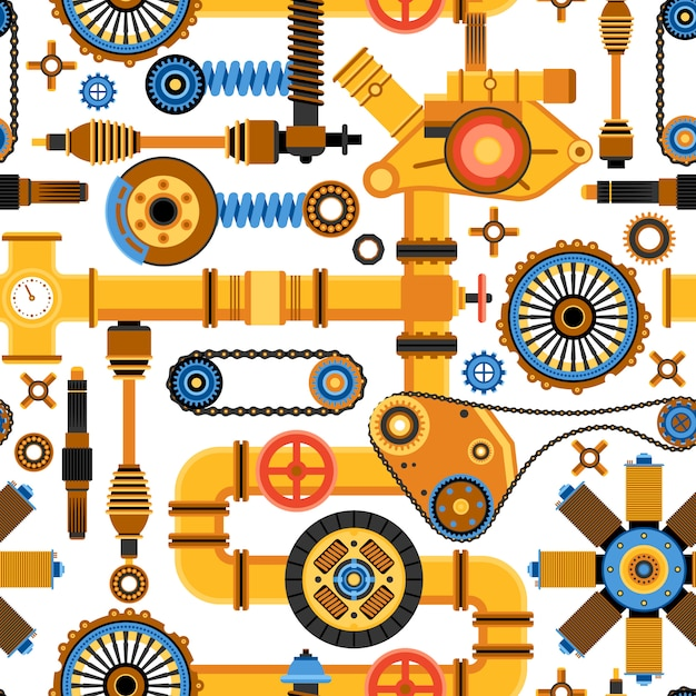 Machinery seamless pattern Free Vector