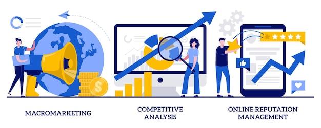 매크로 마케팅, 경쟁 분석, 작은 사람들과의 온라인 평판 관리 개념. 글로벌 마케팅 전략 세트. 시장 분석, 소셜 미디어. 프리미엄 벡터