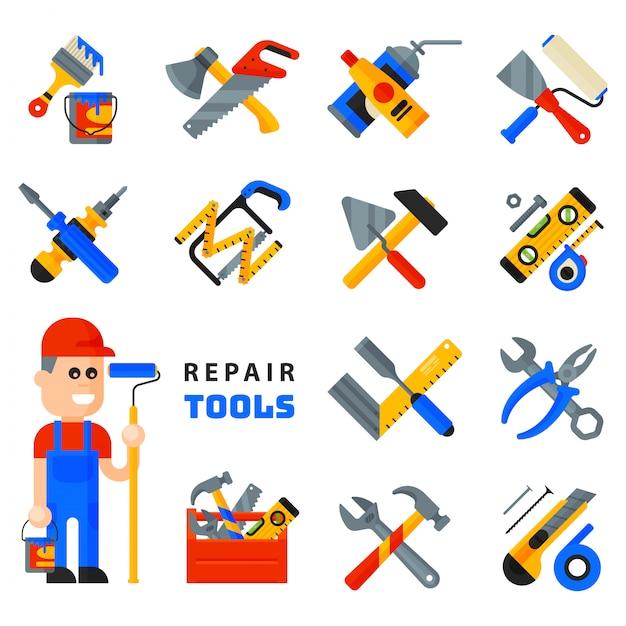 Значки инструментов ремонта дома работая комплект строительного оборудования и стиль характера человека macter работника обслуживания плоский изолированный на белой предпосылке. Premium векторы