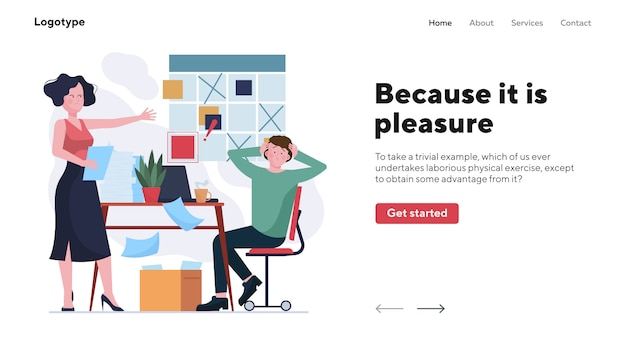 Mad boss blaming forgetful employee landing page Premium Vector
