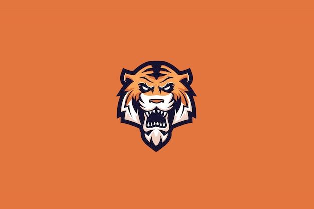 Mad tiger e sports logo Premium Vector