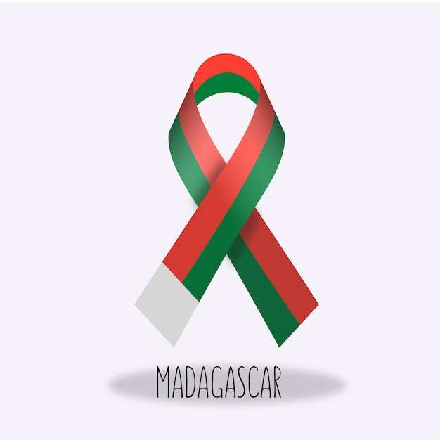Madagascar Flag Ribbon Design Vector Free Download - Madagascar flag