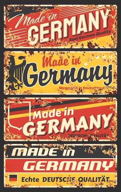 독일 녹슨 금속판, 독일 국기, 독수리 및 타이포그래피가있는 빈티지 녹 주석 기호에서 제작되었습니다. 프리미엄 벡터