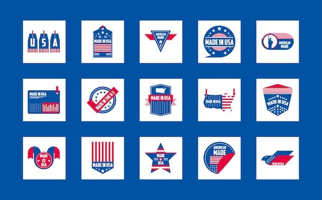 Сделано в сша дизайн коллекции значков баннеров и этикеток, американское качество бизнеса и национальная тема Premium векторы
