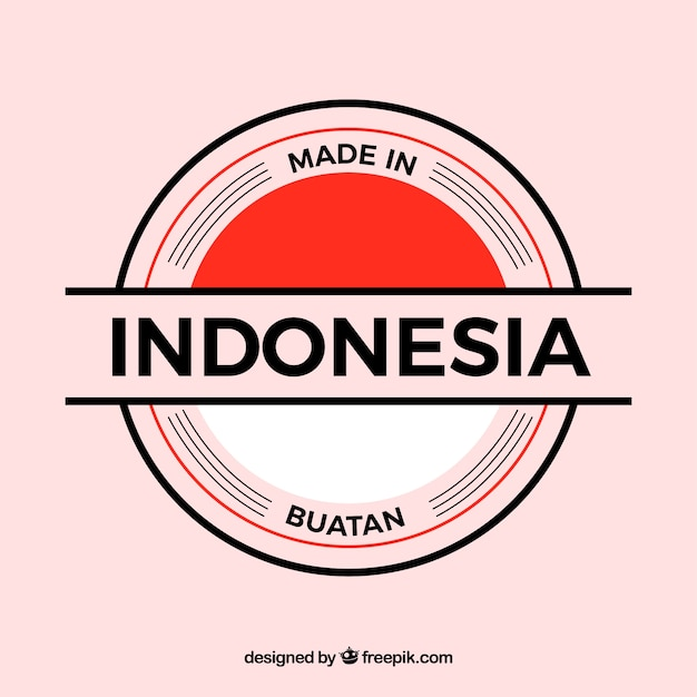 Made in indonesia label Free Vector
