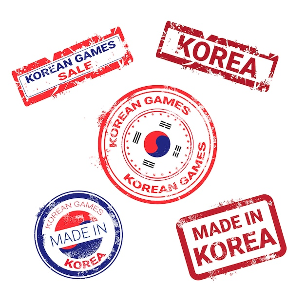 Made in korea stamps set grunge sticker with korean flag Premium Vector
