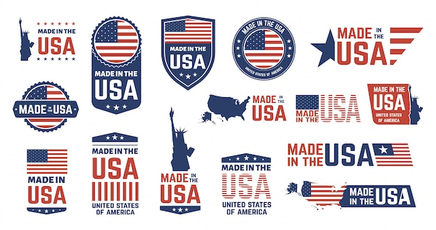 Made in usa badges. patriot proud label stamp, american flag and national symbols, united states of america patriotic emblems  set. us product stickers, national independence day badges Premium Vector