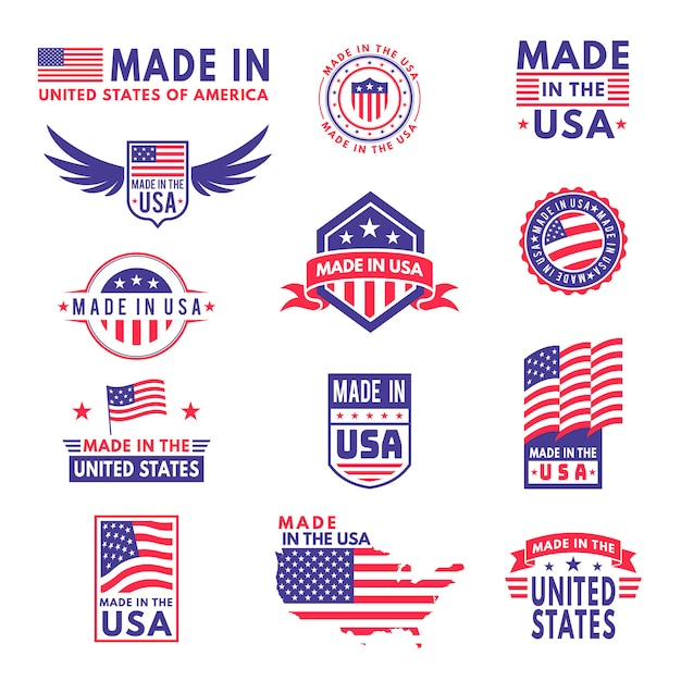 Made in usa. flag made america american states flags product badge quality patriotic labels emblem star ribbon sticker, set Premium Vector