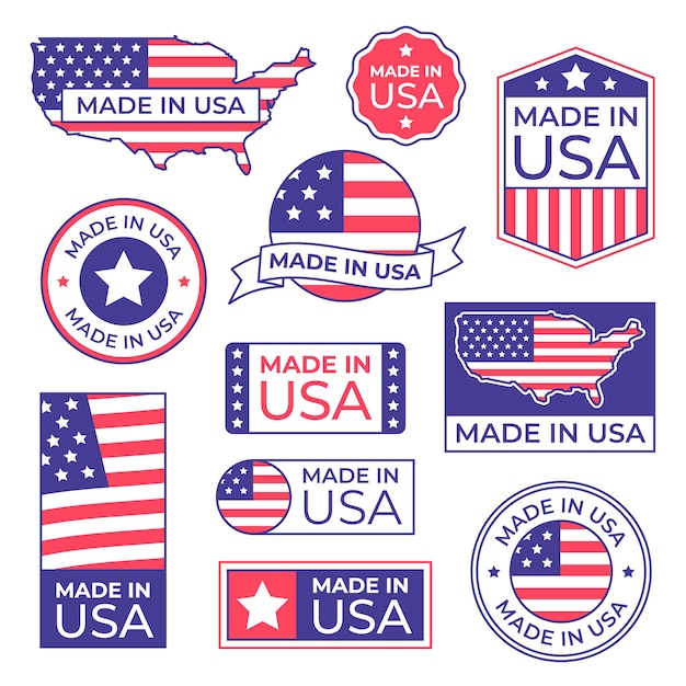 Made in usa label. american flag proud stamp, made for usa labels icon and manufacturing in america stocker isolated  set Premium Vector