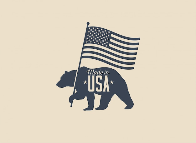 Made in usa label badge or logo design with bear holding american flag silhouette isolated on light  background. vintage styled illustration. Premium Vector