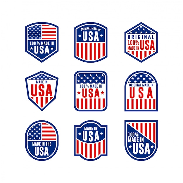Made in usa label collection Premium Vector