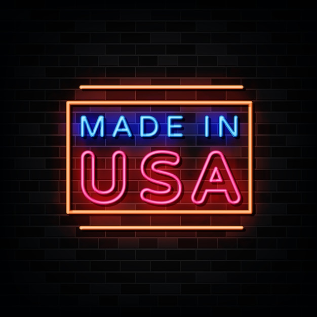 Made in usa neon sign . design template neon sign Premium Vector