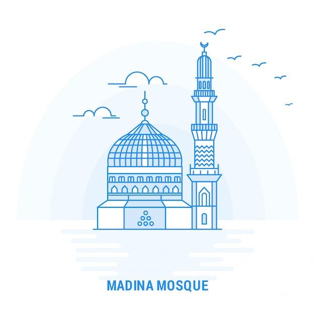Madina mosque blue landmark Premium Vector