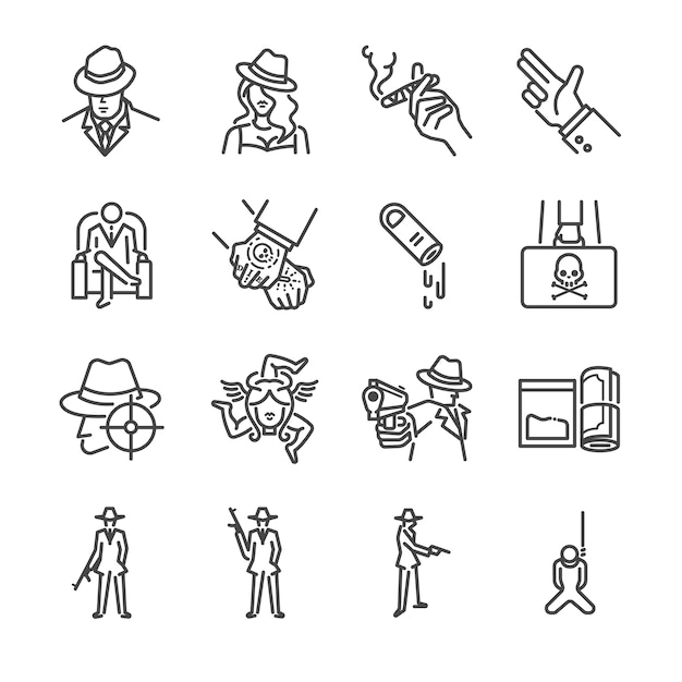 Mafia and gangster line icon set. Premium Vector