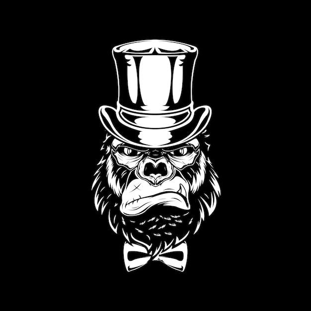 Mafia gorilla head Premium Vector