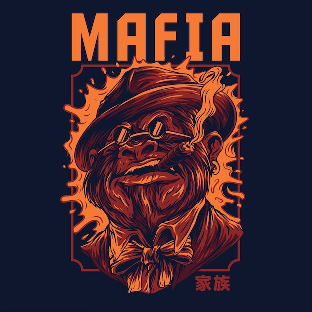 Mafia remastered illustration Premium Vector