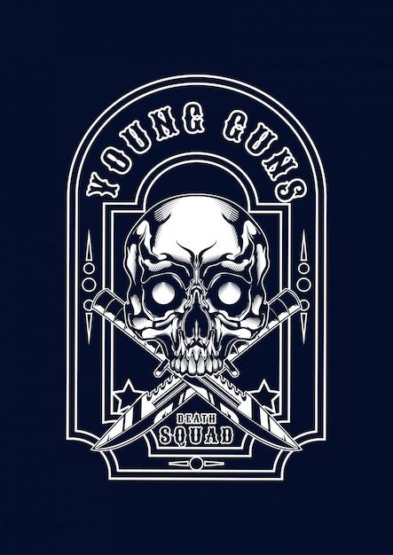 Мафия череп иллюстрации для футболки Premium векторы