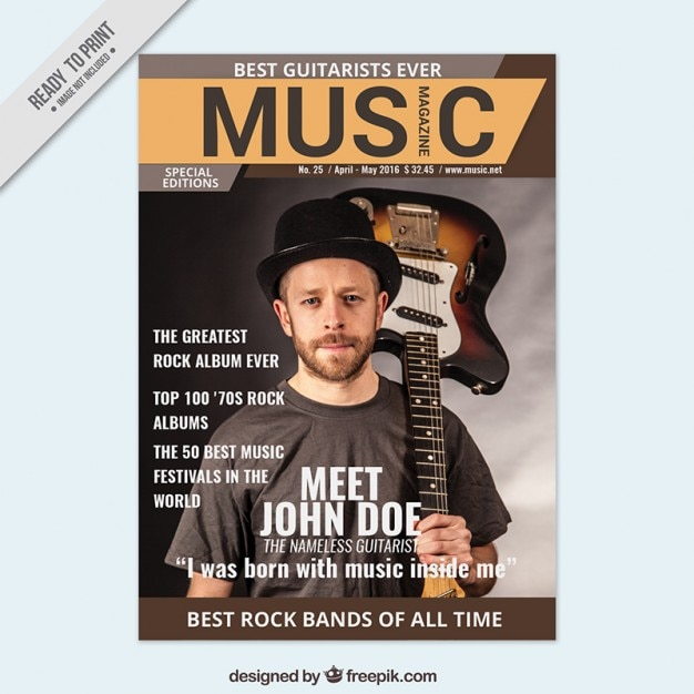 Magazine about music with a musician cover Vector | Free Download