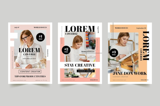 Magazine cover collection with photo Free Vector