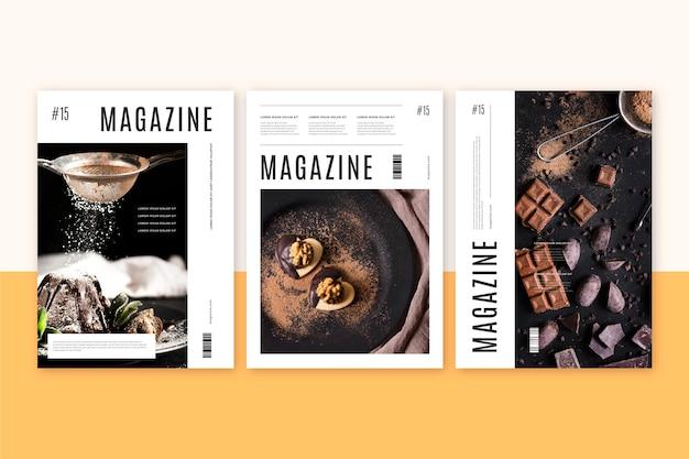 Обложка журнала с фото сладостей Бесплатные векторы
