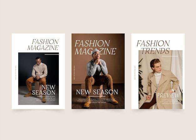 Коллекция шаблонов обложек журнала с фото Premium векторы
