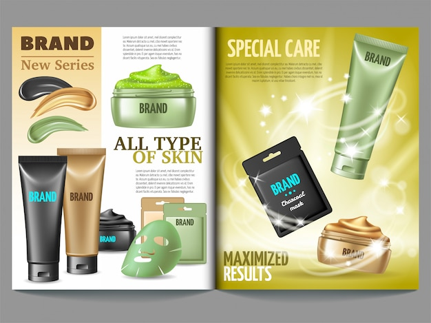 Magazine template of cosmetic. Free Vector
