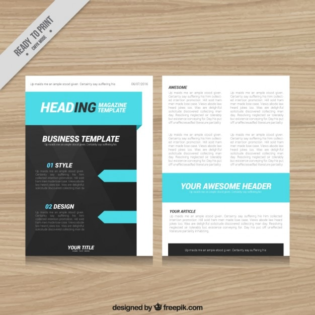 Magazine template design with blue elements vector free for Magazine layout templates free download
