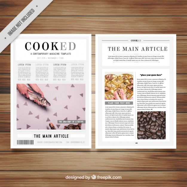 Magazine Article Template Free: Magazine Template With Pictures Vector