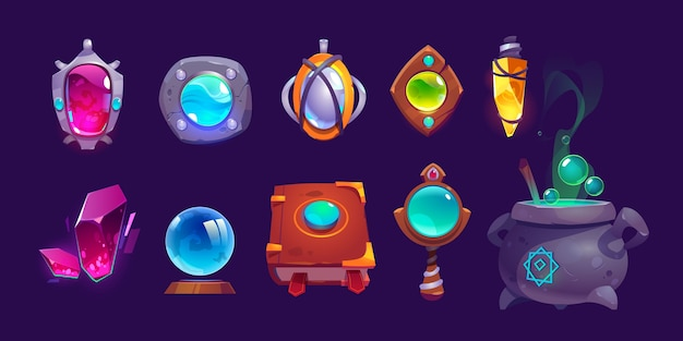 Magic amulets, crystal, book of spell and cauldron with boiling potion. cartoon icons set, gui elements for game about witchcraft or wizard isolated on background Free Vector