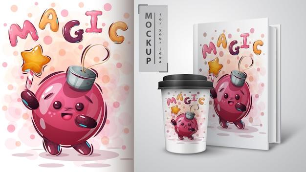 Magic ball poster and merchandising Premium Vector