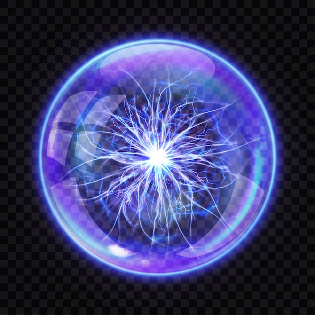 Magic ball with electric lightning inside, realistic Free Vector