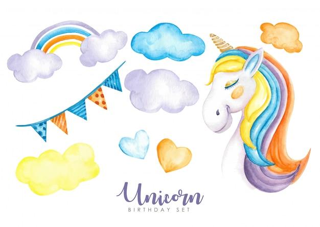 Magic birthday set unicorns watercolor Premium Vector