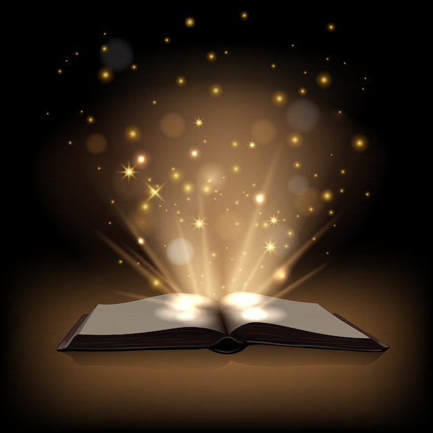 暗い茶色の背景に魔法のライトと魔法の本。 Premiumベクター