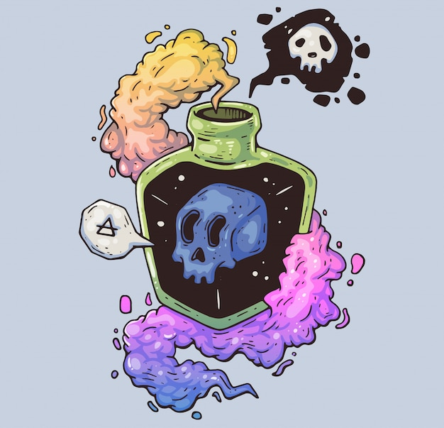 Magic bottle with poison. mystical skull in a vessel. cartoon illustration. character in the modern graphic style. Premium Vector
