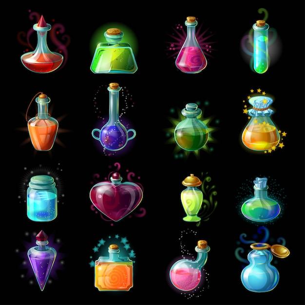 Set di icone di bottiglie magiche Vettore gratuito