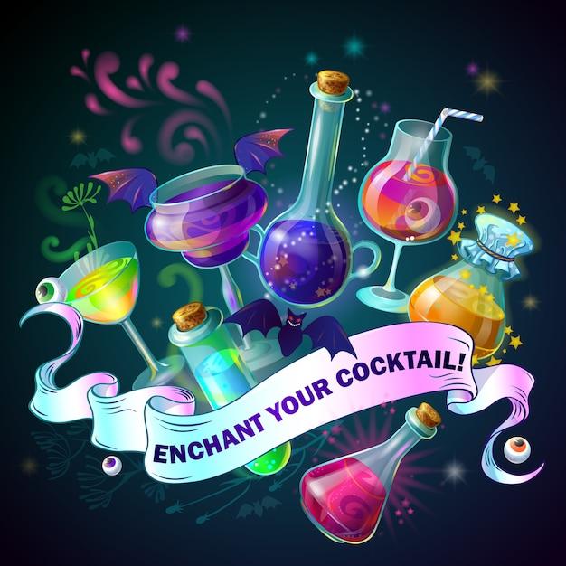 Illustrazione di bottiglie magiche Vettore gratuito
