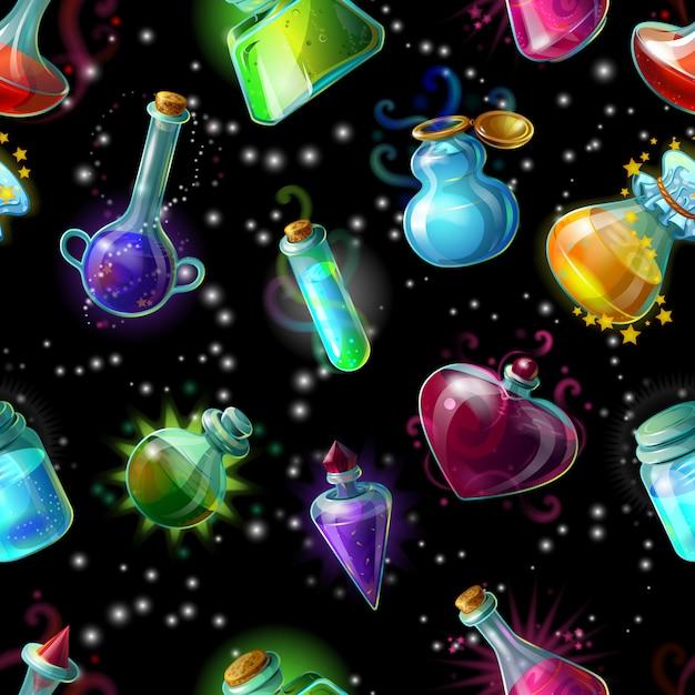 Bottiglie magiche seamless Vettore gratuito