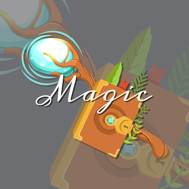Magic card Premium Vector