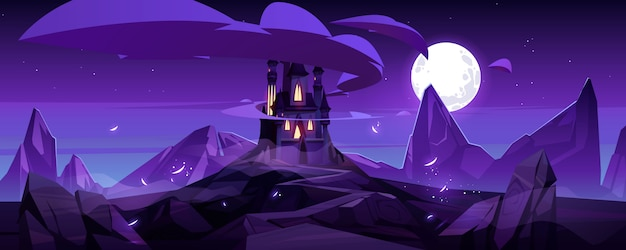 Волшебный замок ночью на горном сказочном дворце Бесплатные векторы