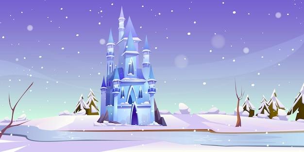 Волшебный замок в зимний день на берегу замерзшей реки. Бесплатные векторы